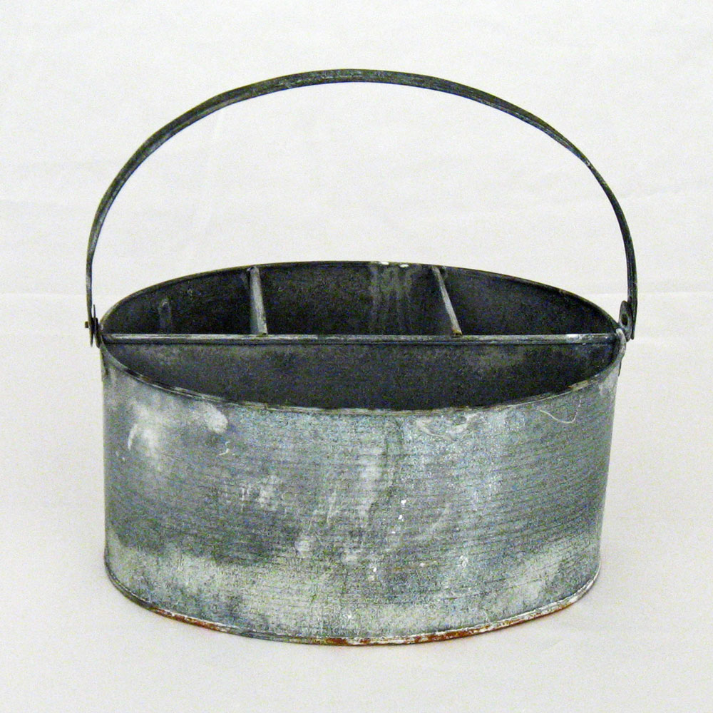 11 Quot X 7 Quot X 6 Quot Weathered Gray Zinc Wash Oval Utensil Holder