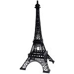 Black Paris Eiffel Tower Metal Centerpiece - 15-inch