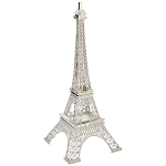 Silver Paris Eiffel Tower Metal Centerpiece - 10-inch
