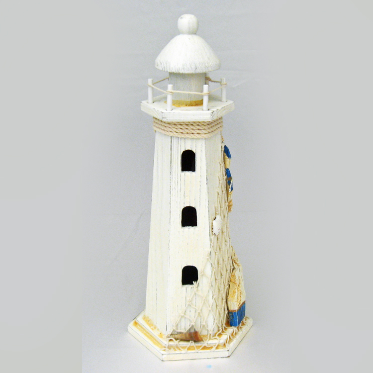 "14"" Ivory Wood Lighthouse With Net & Buoys"