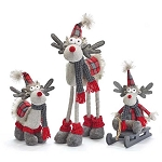Red & Gray Plaid Plush Moose Family - Set of 3