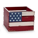 Patriotic American Flag Wood Crate Centerpiece | Planter - 2 sizes