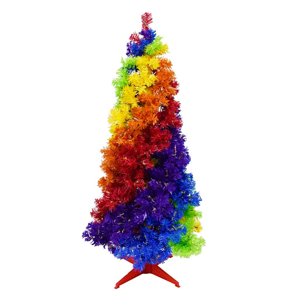 Rainbow Christmas Trees: 4-Foot Gay Rainbow Pride & Joy Christmas Tree