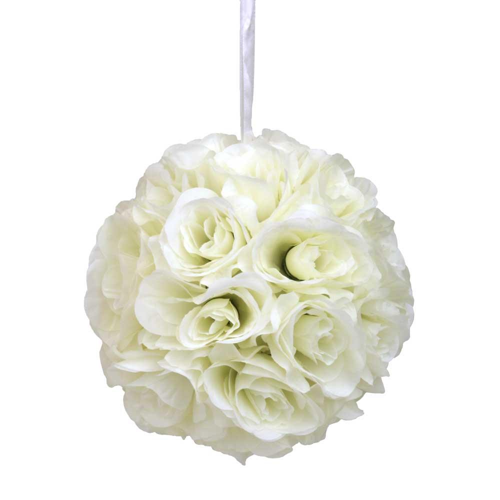 """Ivory Flower Ball: 10"""" Ivory Silk Rose Flower Kissing Ball"""