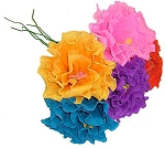 Hand-Made Paper Ruffled Flower (1) - color varies