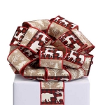 Red & Black #40 Premium Fabric Ribbon with Bears, Trees, & Reindeer (20 yards)