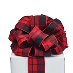 Red & Black Plaid #40 Premium Fabric Ribbon (20 yards)