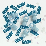 Blue BABY Confetti With Adorable Mini Blue Plastic Pacifiers