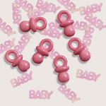 Iridescent BABY Confetti With Adorable Mini Pink Plastic Pacifiers