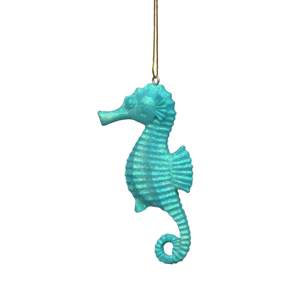 Glittered Seahorse Coastal Hanging Decoration - 3 colors