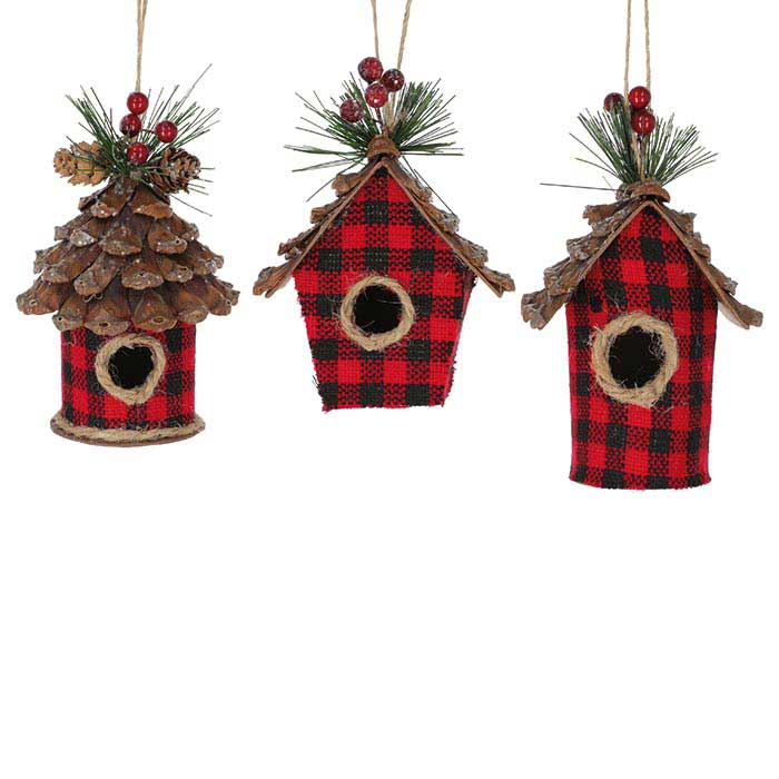 Buffalo Plaid Birdhouse Hanging Decoration - 3 styles