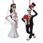 Day of the Dead Skeleton Hanging Ornament (1) - Bride or Groom