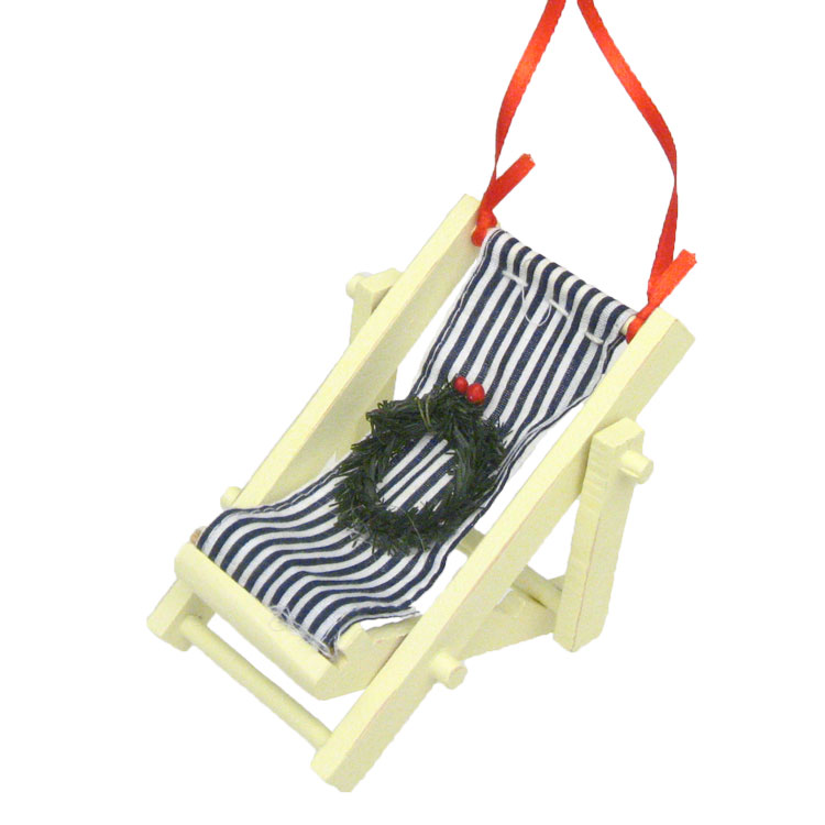 Sling Deck Chair & Wreath Coastal Christmas Ornament