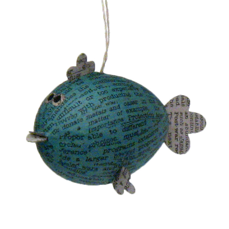 Newsprint Blowfish Coastal Hanging Decoration - 4 colors