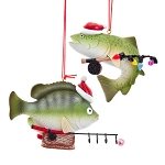 Fishing Fish Woodland Lodge Christmas Ornament - 2 styles
