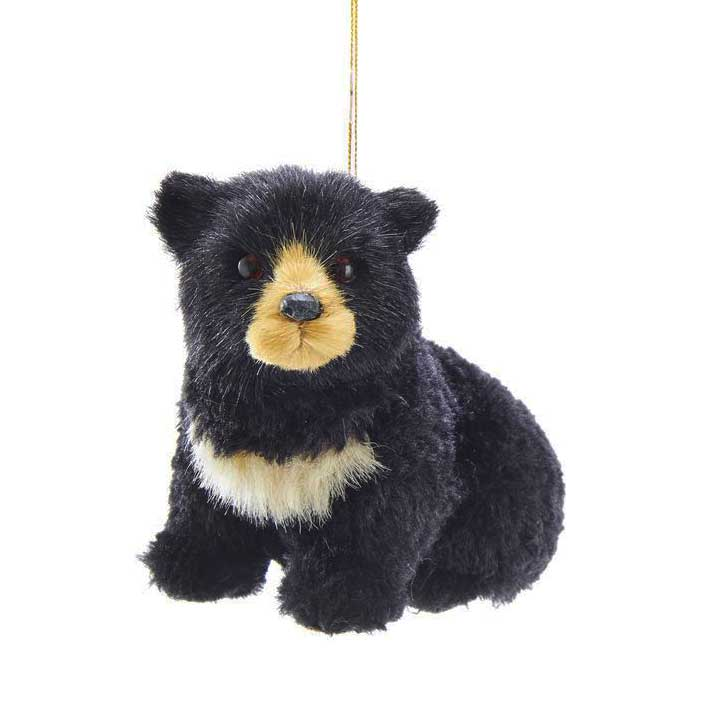 Furry Black Bear Mountain Lodge Hanging Ornament