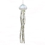 White Glass Jellyfish Coastal Christmas Tree Ornament