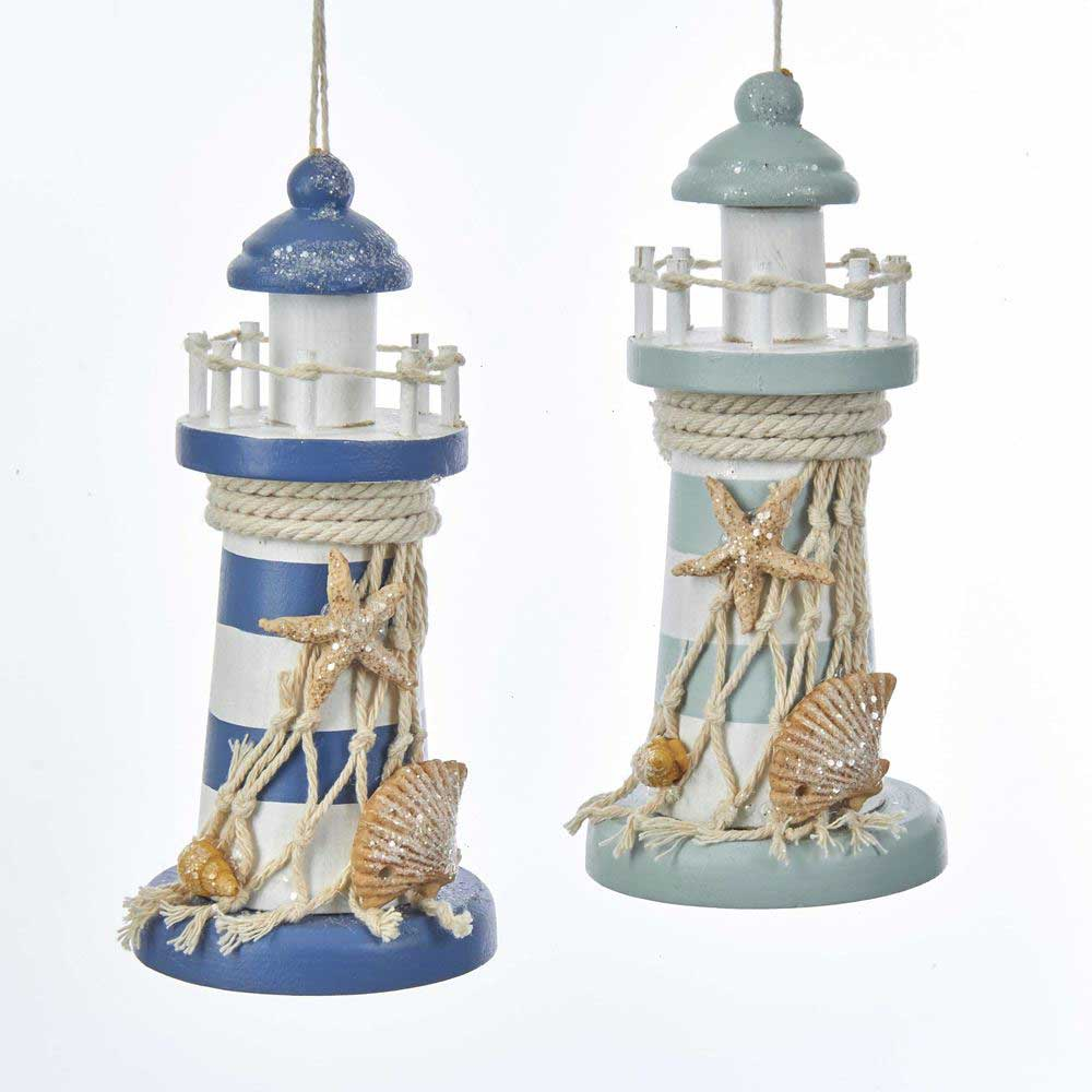 Striped Wood Lighthouse Coastal Christmas Ornament - 2 colors