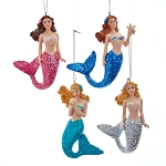Glittered Mermaid Coastal Hanging Decoration - 4 styles