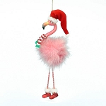 Pink Fluff Flamingo Coastal Christmas Tree Ornament