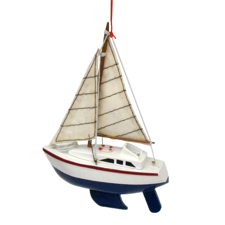 Wood Sailing Yacht Coastal Christmas Ornament - 3 colors