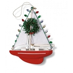 Decorated Red Sailboat Coastal Christmas Ornament