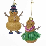 Sand Snowman Glass Coastal Christmas Ornament - 2 styles