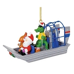 Santa's Gator Guided Airboat Tour Coastal Christmas Ornament