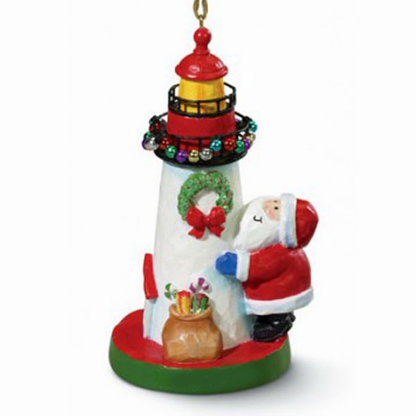 Santa's Lighthouse Coastal Christmas Ornament