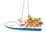 Santa's Glittered SS PARTYBOAT Coastal Christmas Ornament