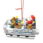 Santa & Reindeer Pontoon Boat Coastal Christmas Ornament