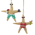 Day-At-the-Beach Starfish Coastal Christmas Ornaments  - 2 styles