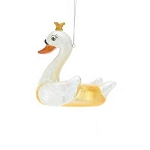 Swan Pool Float Glass Coastal Christmas Tree Ornament