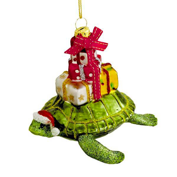 Sea Turtle with Gifts Glass Coastal Christmas Ornament