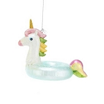 Unicorn Pool Float Glass Coastal Christmas Tree Ornament