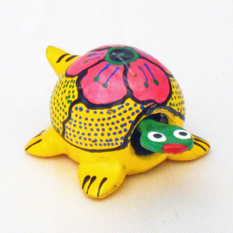 Brightly Colored Mini Mexican Hand-Painted Bobble Turtle