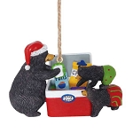 Black Bears Raiding Cooler Lodge Christmas Ornament