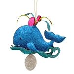 Glittered Metal Spouting Whale Coastal Christmas Ornament