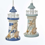 Striped Wood Lighthouse Coastal Hanging Ornament - 2 colors