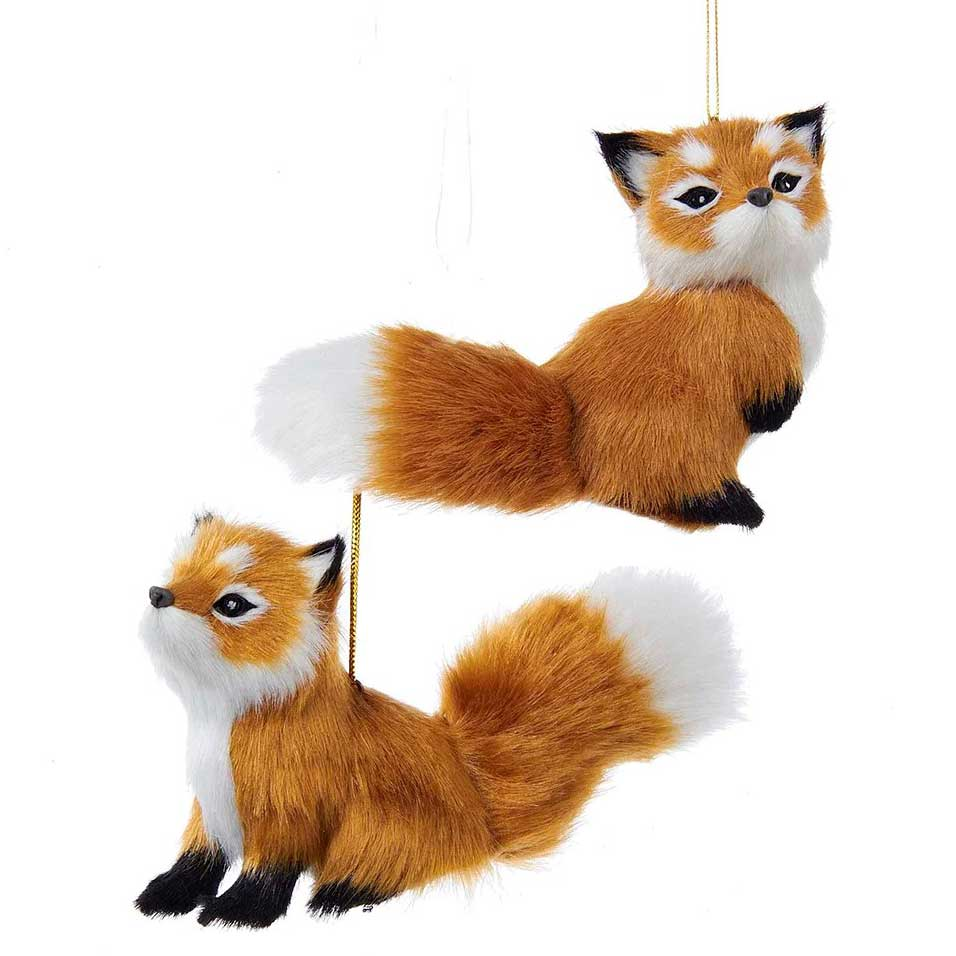 Furry Red Fox Woodland Lodge Hanging Ornament - 2 styles