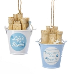 Sand Castle & Bucket Coastal Hanging Ornament - 2 styles