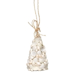 Intricate White Sea Shells Tree Coastal Christmas Ornament