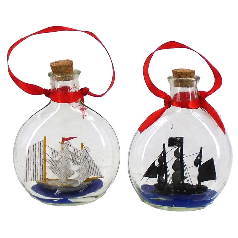 Ship In A Bottle Coastal Hanging Ornament - 2 styles