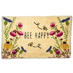 Coconut Fiber Bee Happy Wildflower Welcome Mat