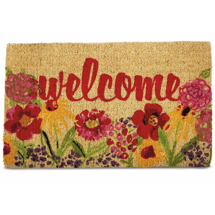 Coconut Fiber Fresh Flowers Welcome Mat
