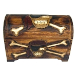 Carved Wood Pirate Treasure Chest - 3 sizes
