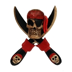 Carved Skull & Crossed Swords Pirate Wall Mount