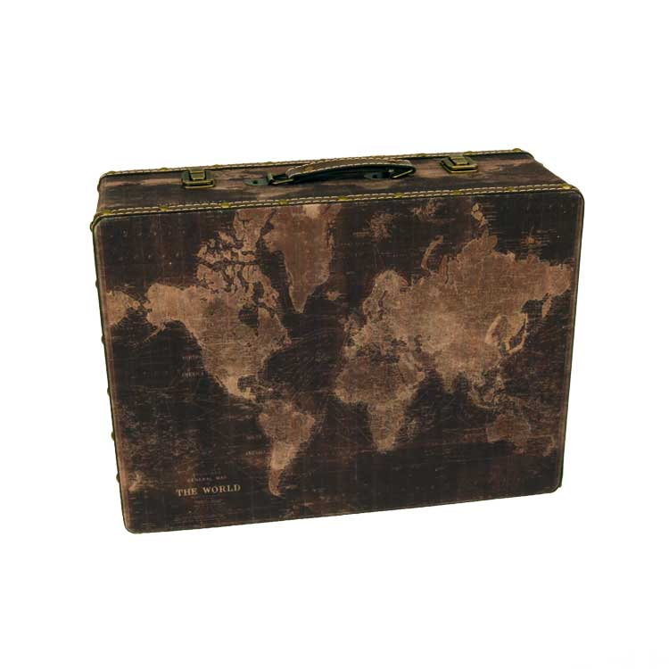 World Map Party Supplies.World Map Upholstered Wood Suitcase Travel International Themed