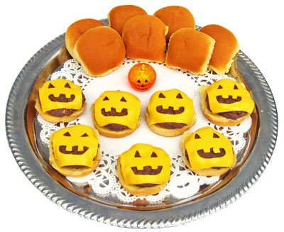 Halloween Food - Jack O Lantern Sliders