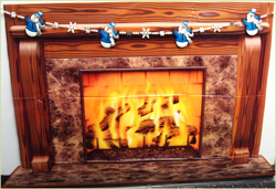 Fireplace with Snowman Garland
